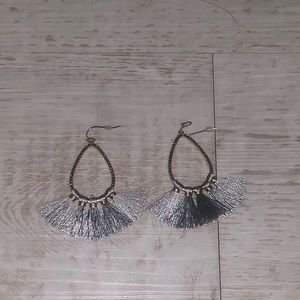 Grey tassel hoop earrings drop gold